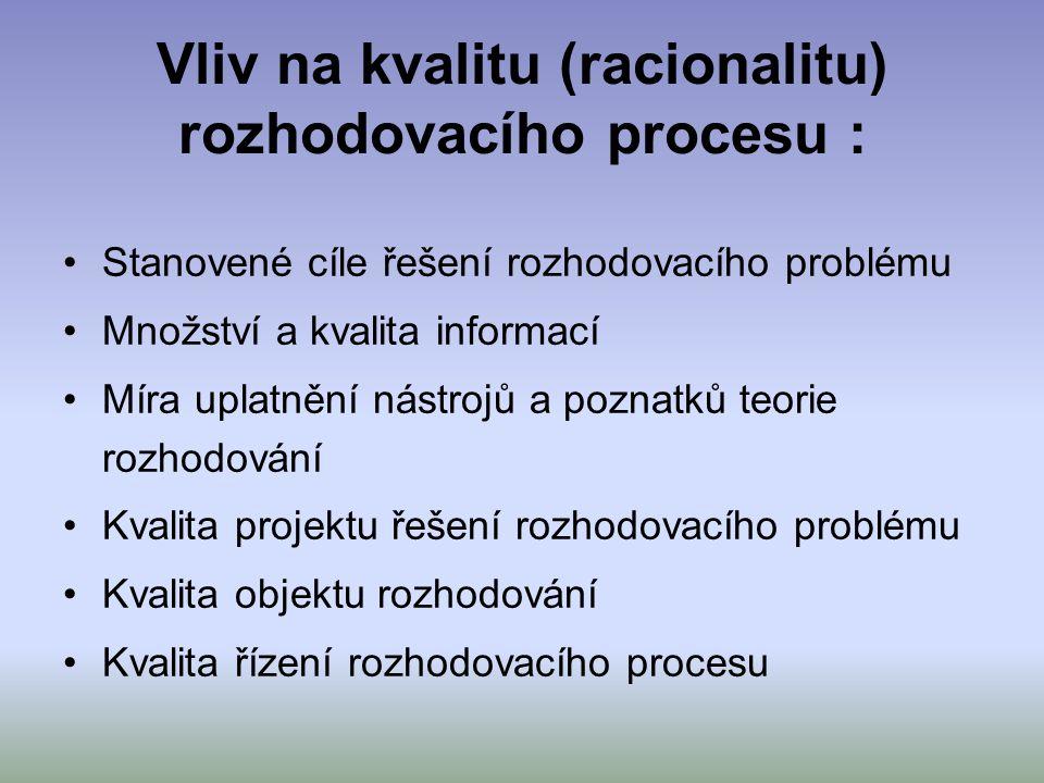 Vliv na kvalitu (racionalitu) rozhodovacího procesu : Stanovené cíle řešení rozhodovacího problému Množství a kvalita informací Míra uplatnění nástroj
