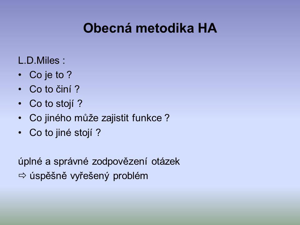 Obecná metodika HA L.D.Miles : Co je to ? Co to činí ? Co to stojí ? Co jiného může zajistit funkce ? Co to jiné stojí ? úplné a správné zodpovězení o