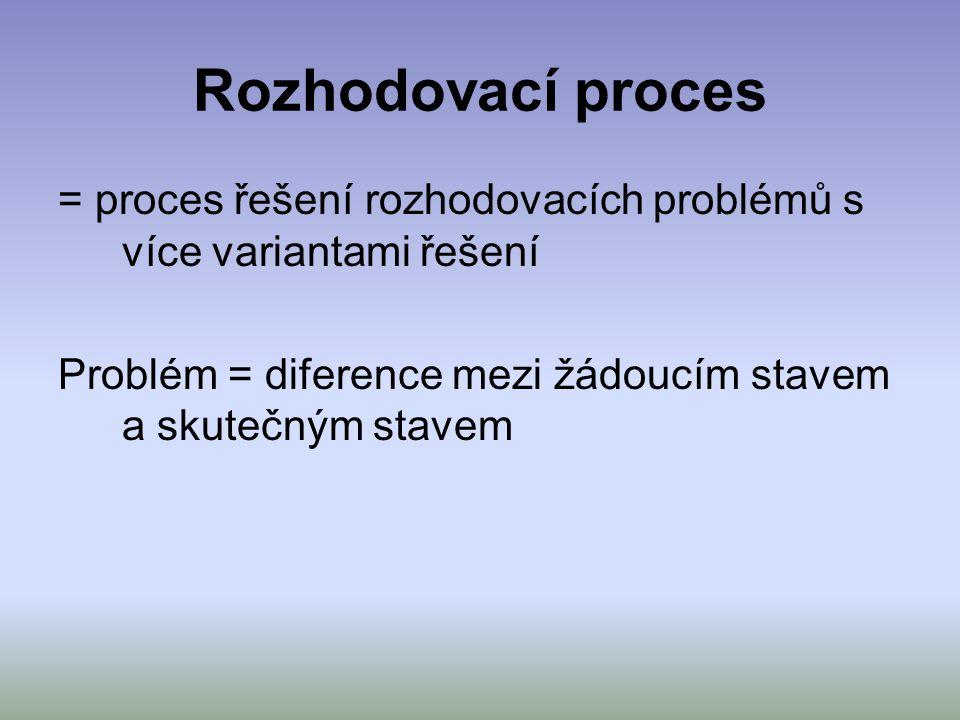 Rozhodovací proces = proces řešení rozhodovacích problémů s více variantami řešení Problém = diference mezi žádoucím stavem a skutečným stavem