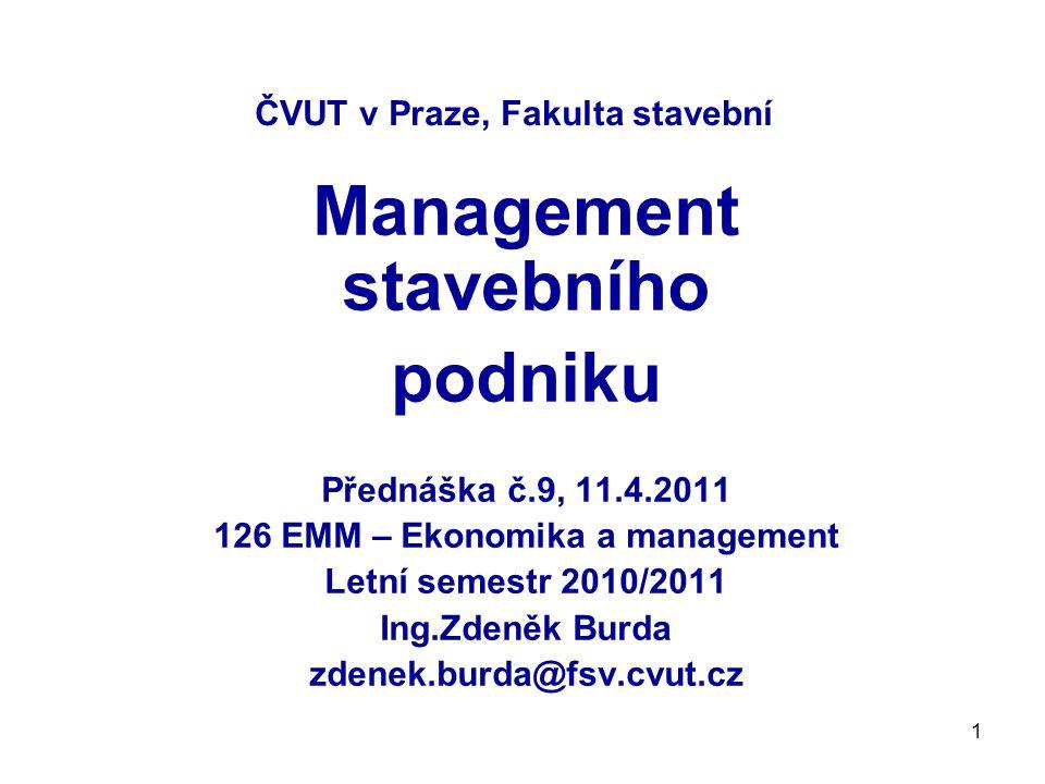 62 Management stavebního podniku Literatura : Novák,Hačkajlová,Nováková : Ekonomika a management , Vydavatelství ČVUT,2004 Děkuji za pozornost !