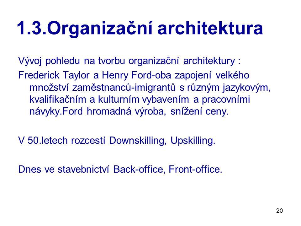 20 1.3.Organizační architektura Vývoj pohledu na tvorbu organizační architektury : Frederick Taylor a Henry Ford-oba zapojení velkého množství zaměstnanců-imigrantů s různým jazykovým, kvalifikačním a kulturním vybavením a pracovními návyky.Ford hromadná výroba, snížení ceny.