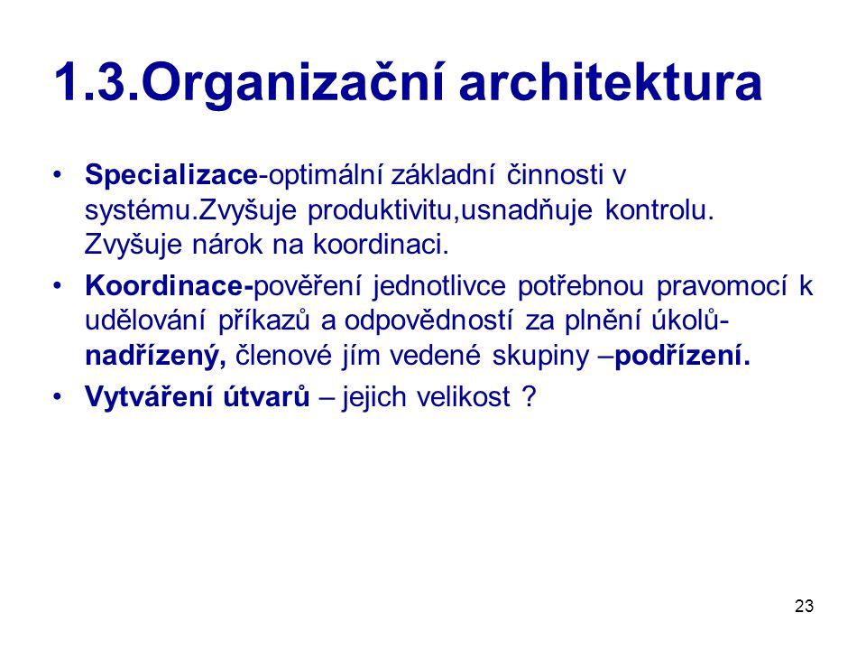 23 1.3.Organizační architektura Specializace-optimální základní činnosti v systému.Zvyšuje produktivitu,usnadňuje kontrolu.