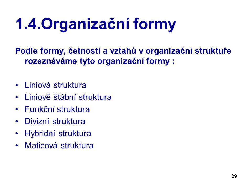 29 1.4.Organizační formy Podle formy, četnosti a vztahů v organizační struktuře rozeznáváme tyto organizační formy : Liniová struktura Liniově štábní struktura Funkční struktura Divizní struktura Hybridní struktura Maticová struktura