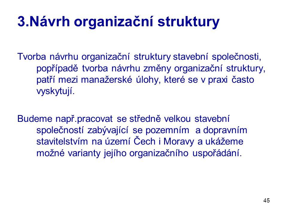 45 3.Návrh organizační struktury Tvorba návrhu organizační struktury stavební společnosti, popřípadě tvorba návrhu změny organizační struktury, patří mezi manažerské úlohy, které se v praxi často vyskytují.