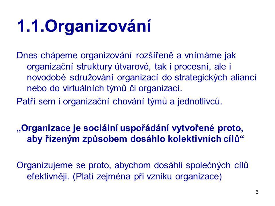 5 1.1.Organizování Dnes chápeme organizování rozšířeně a vnímáme jak organizační struktury útvarové, tak i procesní, ale i novodobé sdružování organiz