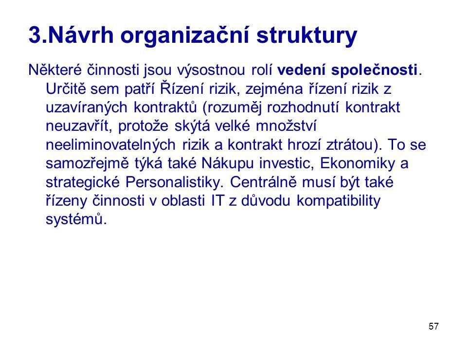 57 3.Návrh organizační struktury Některé činnosti jsou výsostnou rolí vedení společnosti.