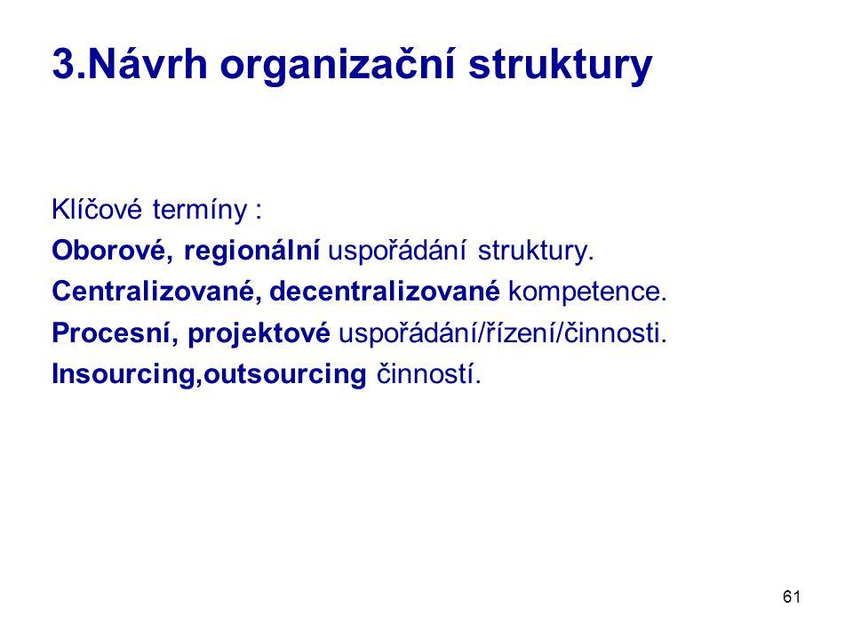 61 3.Návrh organizační struktury Klíčové termíny : Oborové, regionální uspořádání struktury. Centralizované, decentralizované kompetence. Procesní, pr