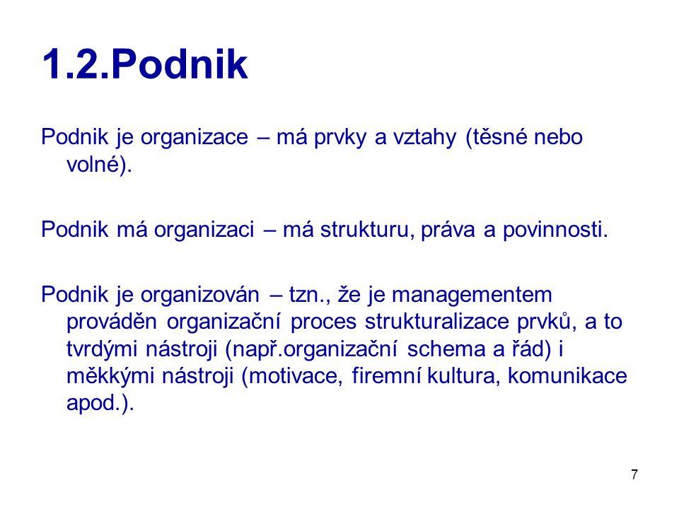 28 1.3.Organizační architektura Plochá decentralizovaná organizační struktura