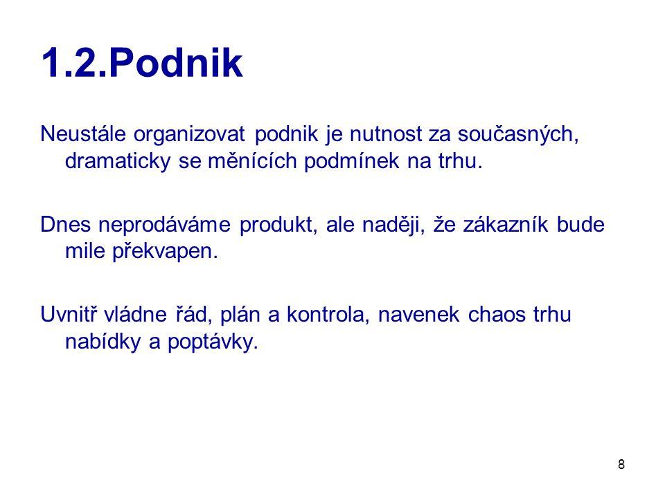 """9 1.2.Podnik Jaký je vývoj podnikového """"vládnutí za posledních sto let ."""