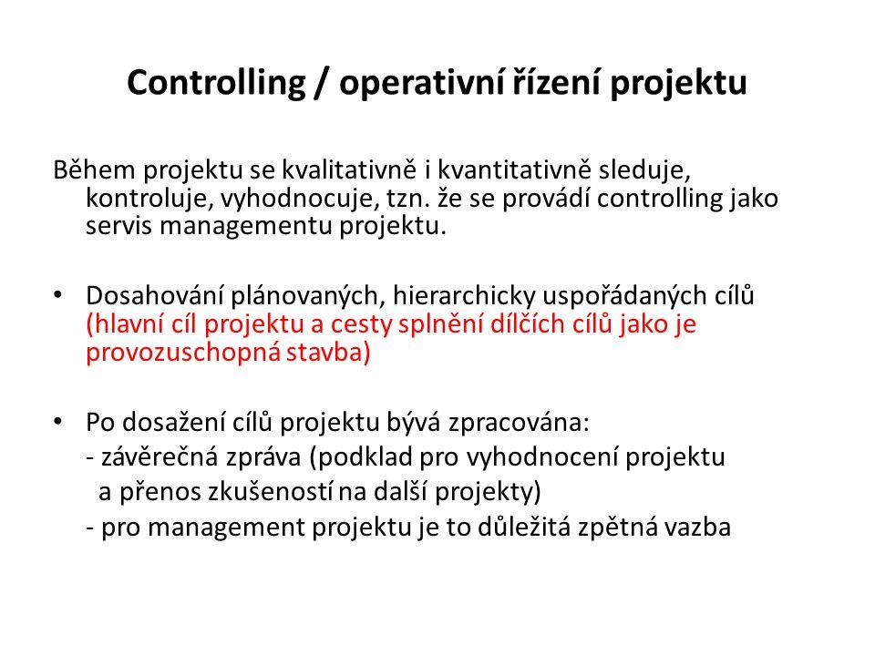 Controlling / operativní řízení projektu Během projektu se kvalitativně i kvantitativně sleduje, kontroluje, vyhodnocuje, tzn.