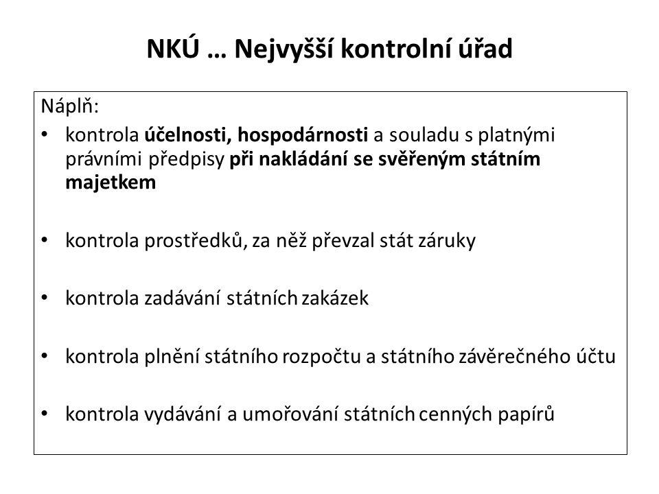NKÚ … Nejvyšší kontrolní úřad Náplň: kontrola účelnosti, hospodárnosti a souladu s platnými právními předpisy při nakládání se svěřeným státním majetk