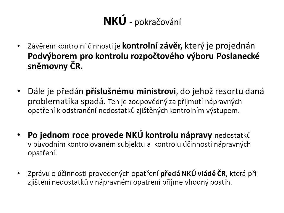 NKÚ - pokračování Závěrem kontrolní činnosti je kontrolní závěr, který je projednán Podvýborem pro kontrolu rozpočtového výboru Poslanecké sněmovny ČR.