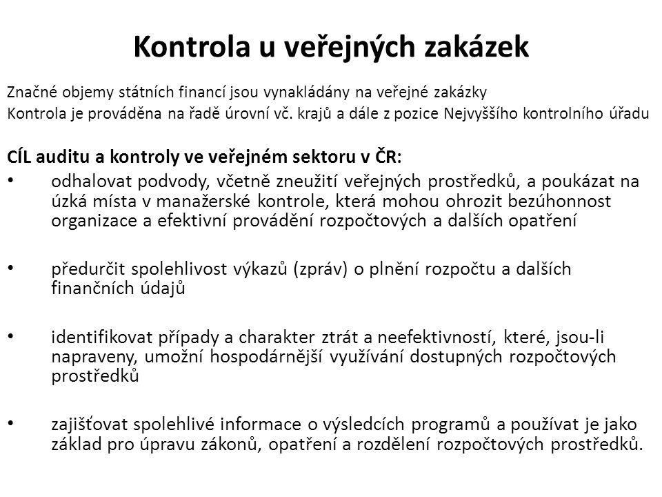 Kontrola u veřejných zakázek Značné objemy státních financí jsou vynakládány na veřejné zakázky Kontrola je prováděna na řadě úrovní vč. krajů a dále