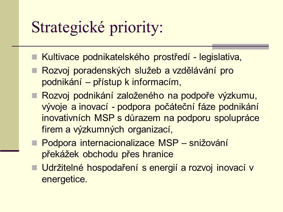 Strategické priority: Kultivace podnikatelského prostředí - legislativa, Rozvoj poradenských služeb a vzdělávání pro podnikání – přístup k informacím, Rozvoj podnikání založeného na podpoře výzkumu, vývoje a inovací - podpora počáteční fáze podnikání inovativních MSP s důrazem na podporu spolupráce firem a výzkumných organizací, Podpora internacionalizace MSP – snižování překážek obchodu přes hranice Udržitelné hospodaření s energií a rozvoj inovací v energetice.
