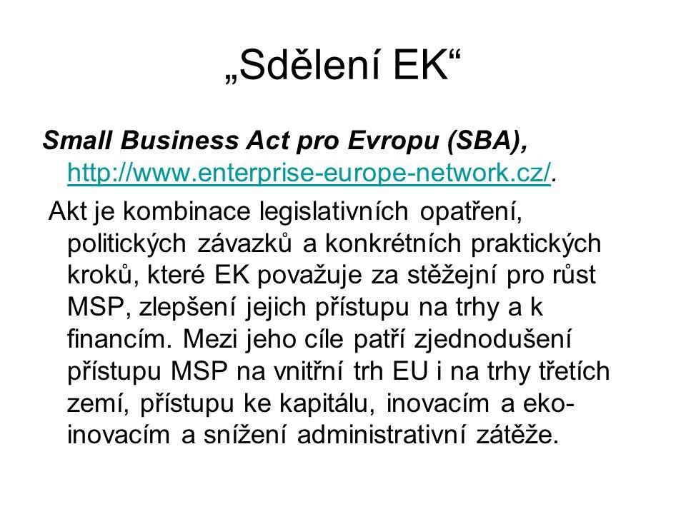 """Sdělení EK Small Business Act pro Evropu (SBA), http://www.enterprise-europe-network.cz/."