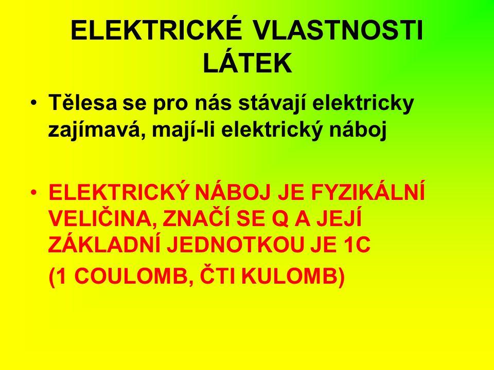 ELEKTRICKÉ VLASTNOSTI LÁTEK Tělesa se pro nás stávají elektricky zajímavá, mají-li elektrický náboj ELEKTRICKÝ NÁBOJ JE FYZIKÁLNÍ VELIČINA, ZNAČÍ SE Q