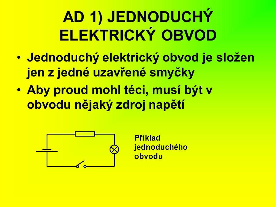 AD 1) JEDNODUCHÝ ELEKTRICKÝ OBVOD Jednoduchý elektrický obvod je složen jen z jedné uzavřené smyčky Aby proud mohl téci, musí být v obvodu nějaký zdro
