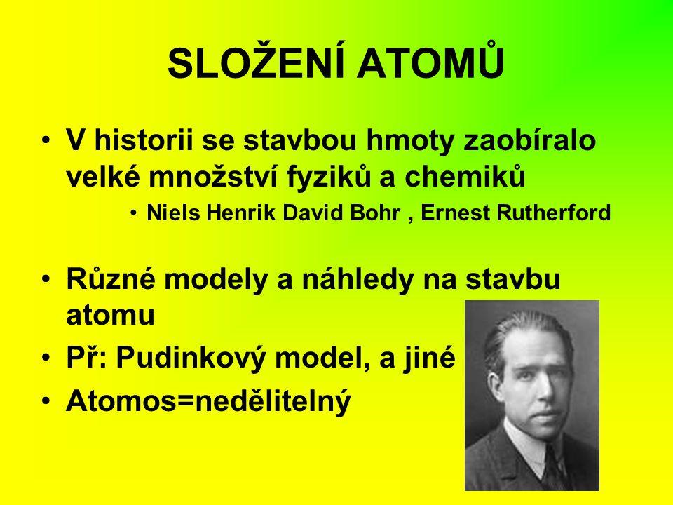 SLOŽENÍ ATOMŮ V historii se stavbou hmoty zaobíralo velké množství fyziků a chemiků Niels Henrik David Bohr, Ernest Rutherford Různé modely a náhledy