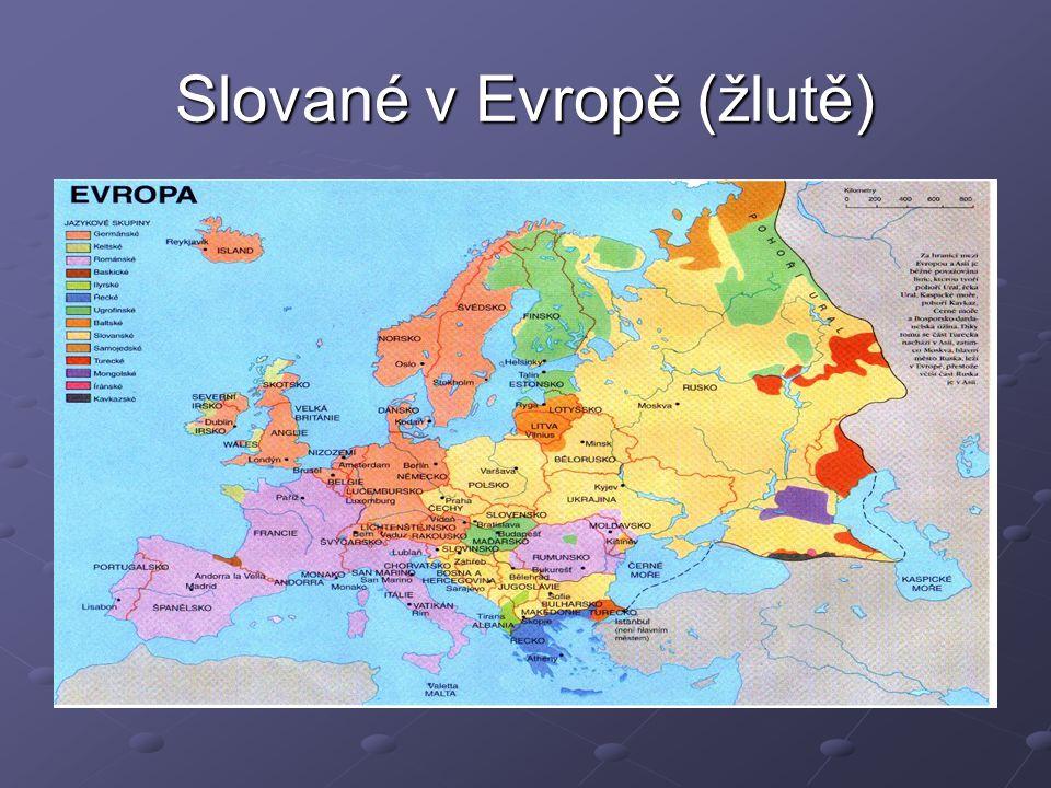 Slované v Evropě (žlutě)