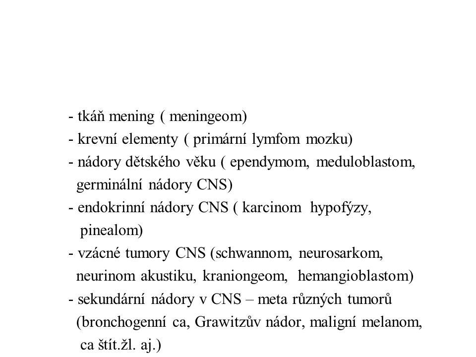 ŠÍŘENÍ:ŠÍŘENÍ: -lokální – infiltrativní či expanzivní -implantační – cestou MM moku = drop metastases – meduloblastom, ependymom, germinální N) -hematogenní – vzácné (meduloblastom, ependymom, ??.