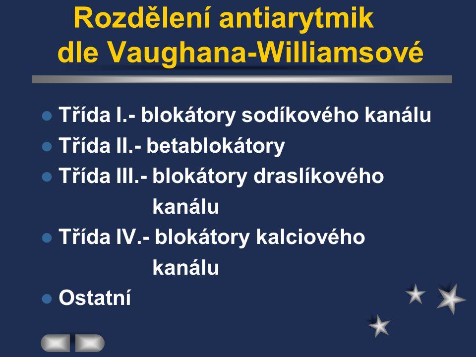 Rozdělení antiarytmik dle Vaughana-Williamsové Třída I.- blokátory sodíkového kanálu Třída II.- betablokátory Třída III.- blokátory draslíkového kanál