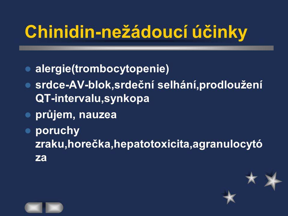Chinidin-nežádoucí účinky alergie(trombocytopenie) srdce-AV-blok,srdeční selhání,prodloužení QT-intervalu,synkopa průjem, nauzea poruchy zraku,horečka