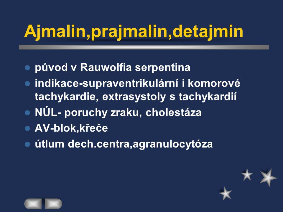Ajmalin,prajmalin,detajmin původ v Rauwolfia serpentina indikace-supraventrikulární i komorové tachykardie, extrasystoly s tachykardií NÚL- poruchy zr