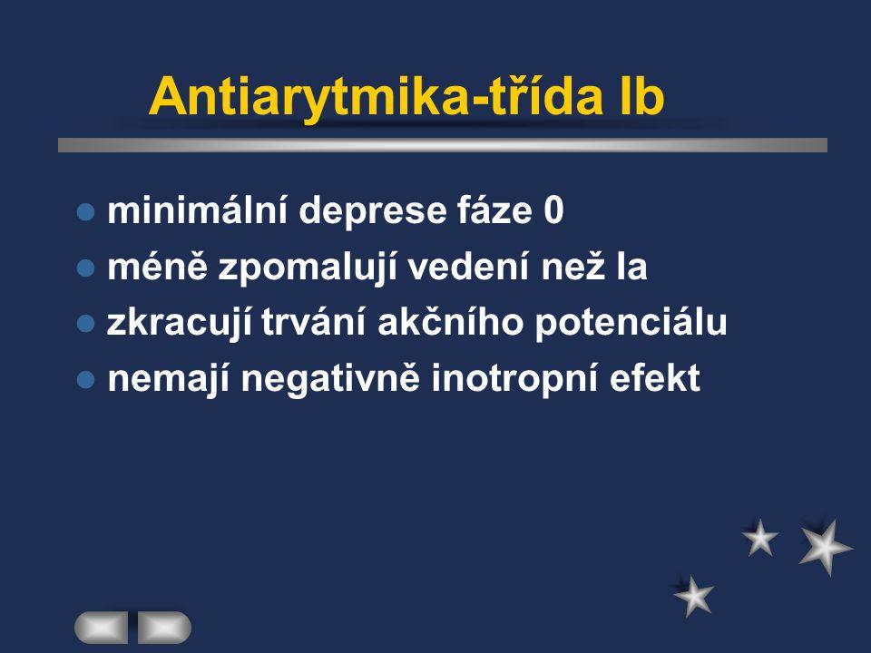 Antiarytmika-třída Ib minimální deprese fáze 0 méně zpomalují vedení než Ia zkracují trvání akčního potenciálu nemají negativně inotropní efekt