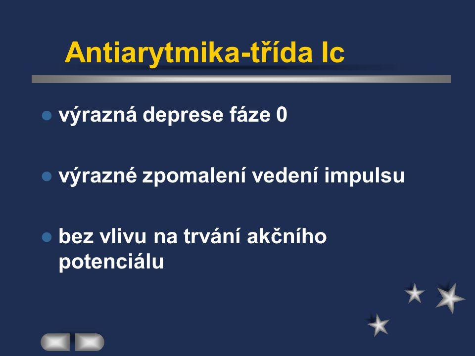 Antiarytmika-třída Ic výrazná deprese fáze 0 výrazné zpomalení vedení impulsu bez vlivu na trvání akčního potenciálu