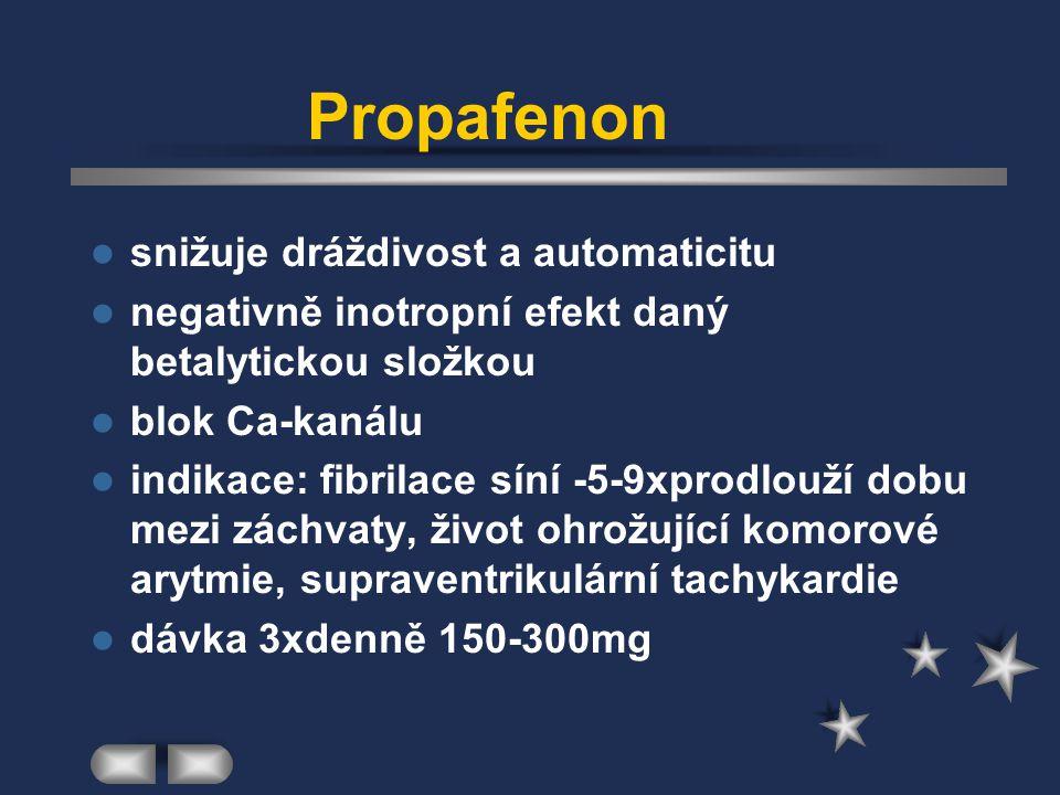 Propafenon snižuje dráždivost a automaticitu negativně inotropní efekt daný betalytickou složkou blok Ca-kanálu indikace: fibrilace síní -5-9xprodlouž