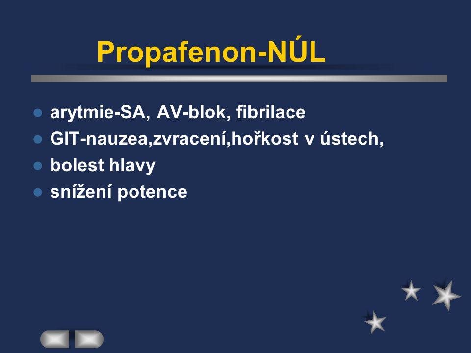 Propafenon-NÚL arytmie-SA, AV-blok, fibrilace GIT-nauzea,zvracení,hořkost v ústech, bolest hlavy snížení potence
