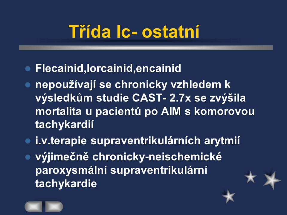 Třída Ic- ostatní Flecainid,lorcainid,encainid nepoužívají se chronicky vzhledem k výsledkům studie CAST- 2.7x se zvýšila mortalita u pacientů po AIM