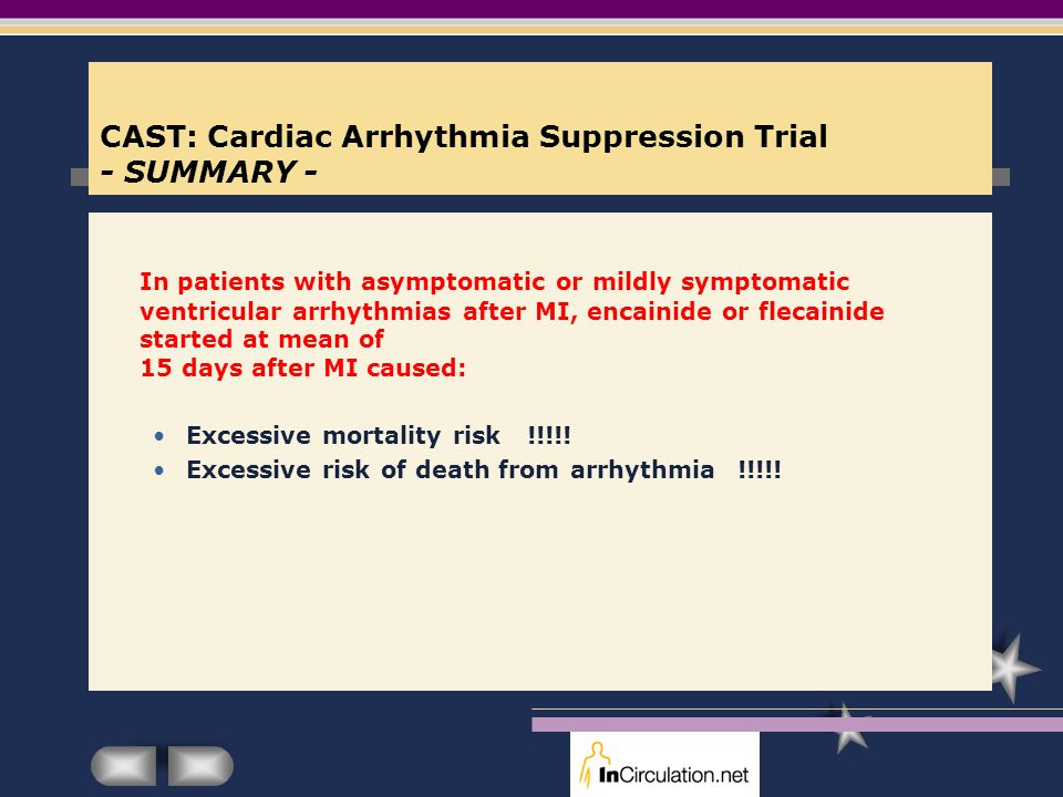 CAST: Cardiac Arrhythmia Suppression Trial - SUMMARY - In patients with asymptomatic or mildly symptomatic ventricular arrhythmias after MI, encainide