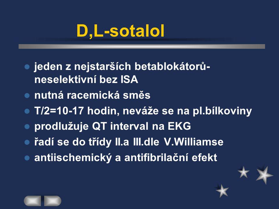 D,L-sotalol jeden z nejstarších betablokátorů- neselektivní bez ISA nutná racemická směs T/2=10-17 hodin, neváže se na pl.bílkoviny prodlužuje QT inte