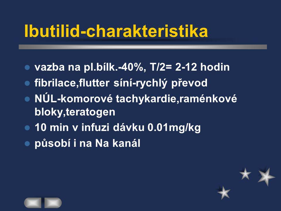 Ibutilid-charakteristika vazba na pl.bílk.-40%, T/2= 2-12 hodin fibrilace,flutter síní-rychlý převod NÚL-komorové tachykardie,raménkové bloky,teratoge