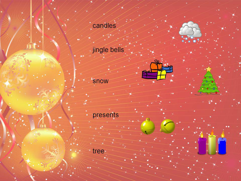 snow presents tree candles jingle bells