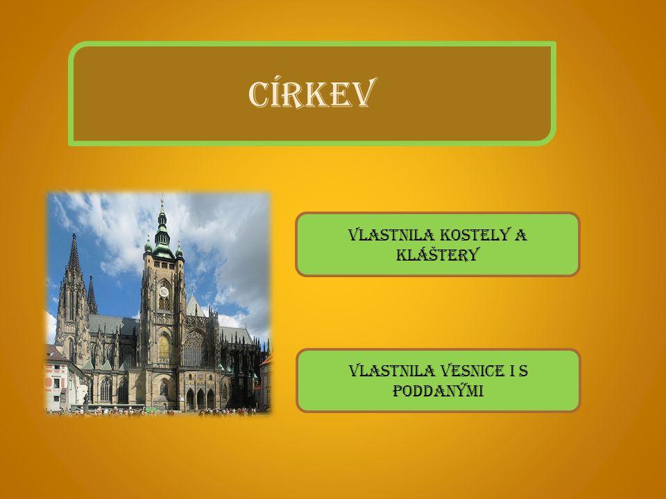 CÍRKEV Vlastnila kostely a kláštery Vlastnila vesnice i s poddanými