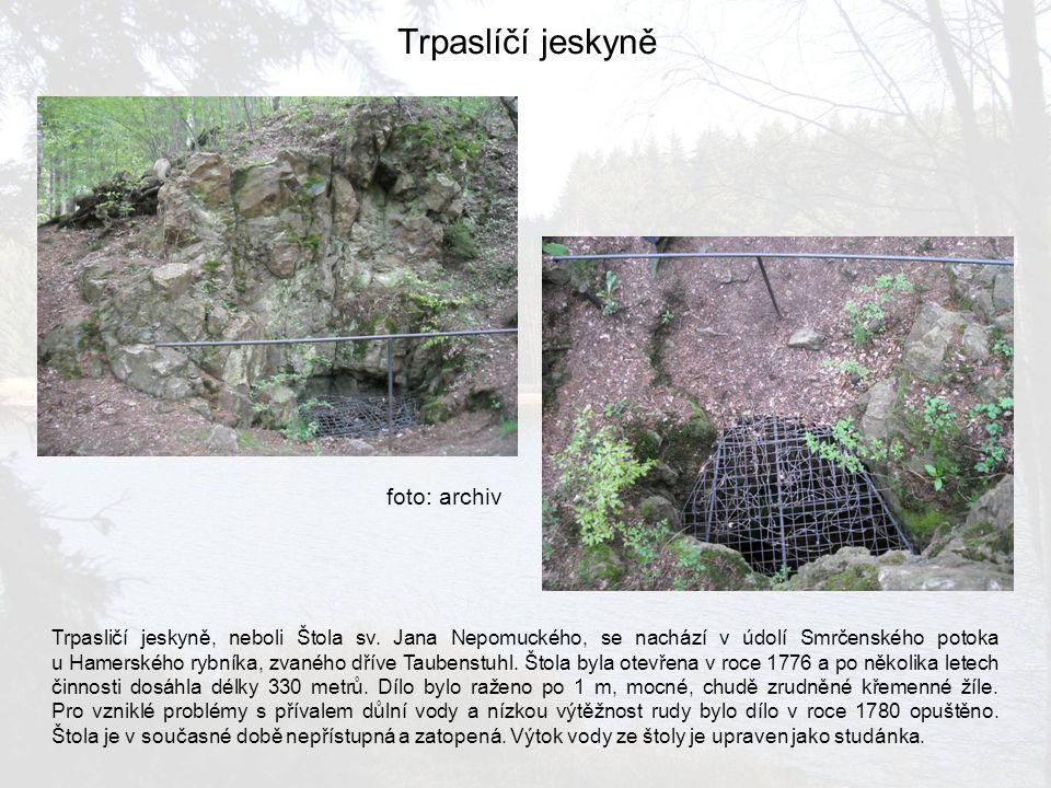 Trpaslíčí jeskyně Trpasličí jeskyně, neboli Štola sv. Jana Nepomuckého, se nachází v údolí Smrčenského potoka u Hamerského rybníka, zvaného dříve Taub