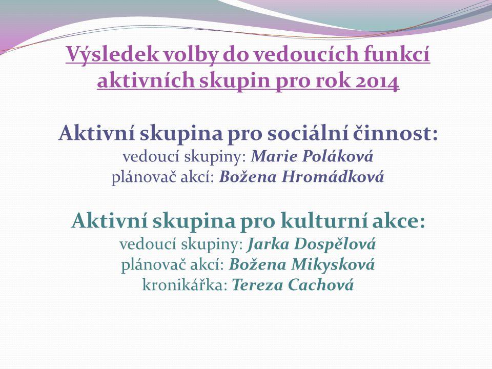Výsledek volby do vedoucích funkcí aktivních skupin pro rok 2014 Aktivní skupina pro sociální činnost: vedoucí skupiny: Marie Poláková plánovač akcí: