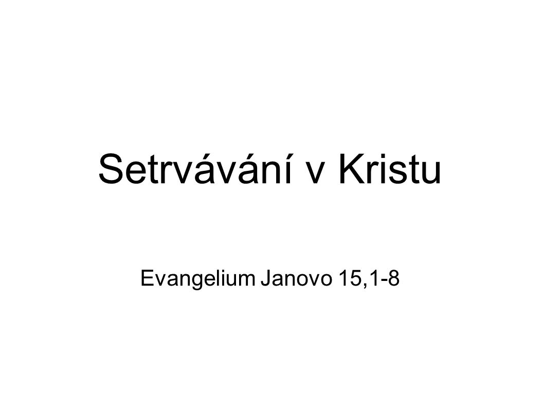 Setrvávání v Kristu Evangelium Janovo 15,1-8