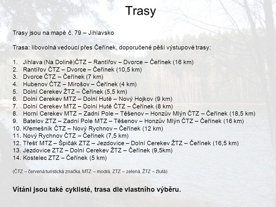 Trasy jsou na mapě č. 79 – Jihlavsko Trasa: libovolná vedoucí přes Čeřínek, doporučené pěší výstupové trasy: 1.Jihlava (Na Dolině)ČTZ – Rantířov – Dvo