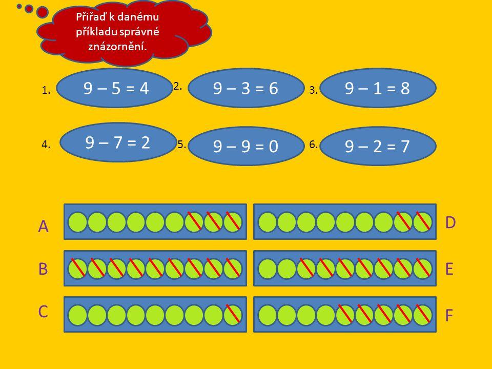 9 – 5 = 4 9 – 7 = 2 9 – 9 = 0 9 – 1 = 89 – 3 = 6 9 – 2 = 7 A B C DEF 1. 2. 3. 4.5.6. Přiřaď k danému příkladu správné znázornění.