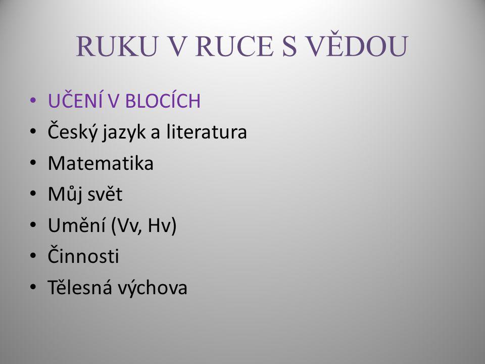 RUKU V RUCE S VĚDOU UČENÍ V BLOCÍCH Český jazyk a literatura Matematika Můj svět Umění (Vv, Hv) Činnosti Tělesná výchova