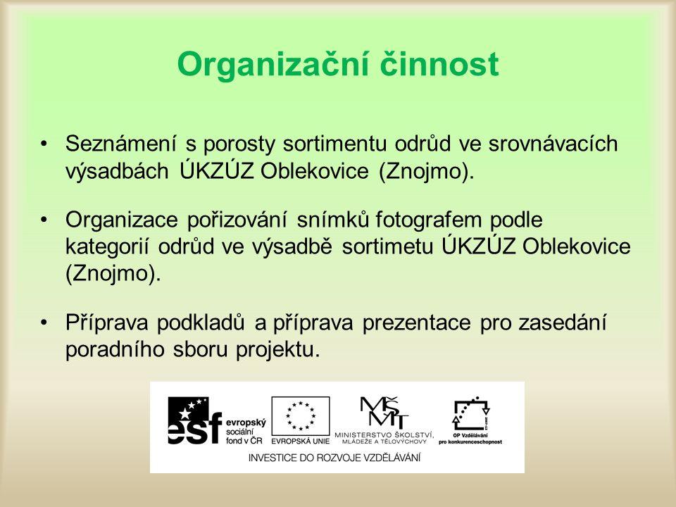 Organizační činnost Seznámení s porosty sortimentu odrůd ve srovnávacích výsadbách ÚKZÚZ Oblekovice (Znojmo).