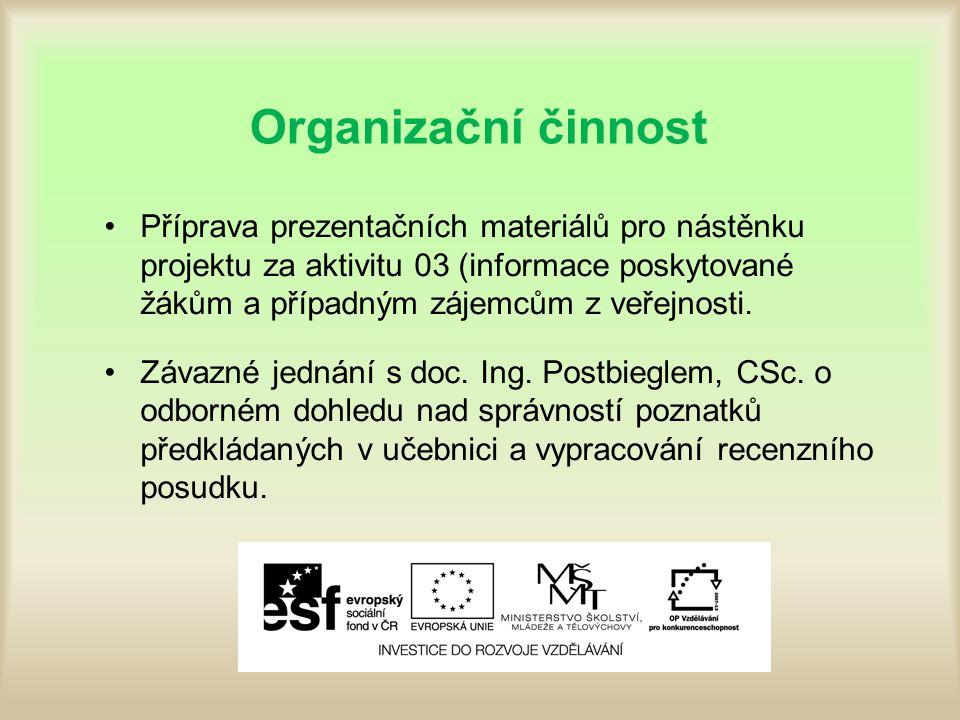 Organizační činnost Příprava prezentačních materiálů pro nástěnku projektu za aktivitu 03 (informace poskytované žákům a případným zájemcům z veřejnosti.