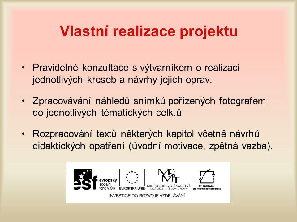 Vlastní realizace projektu Pravidelné konzultace s výtvarníkem o realizaci jednotlivých kreseb a návrhy jejich oprav.