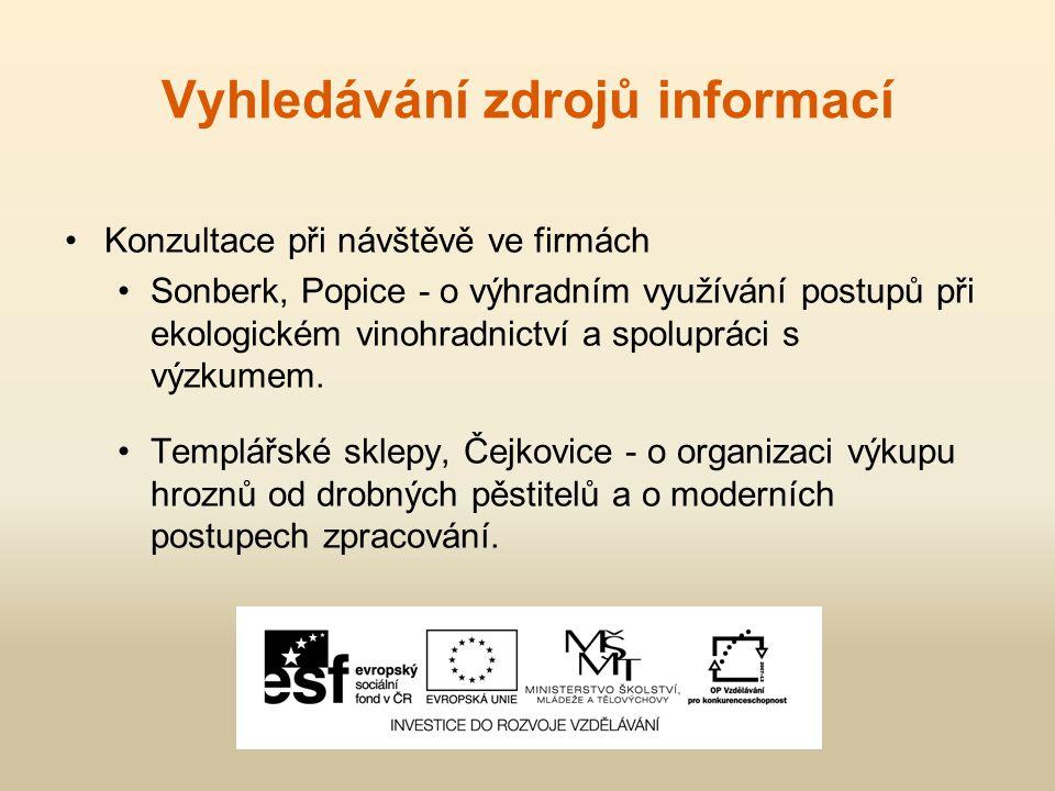 Vyhledávání zdrojů informací Konzultace při návštěvě ve firmách Sonberk, Popice - o výhradním využívání postupů při ekologickém vinohradnictví a spolupráci s výzkumem.