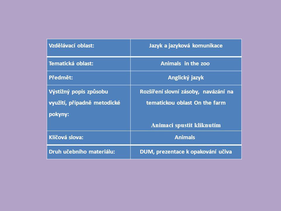 Vzdělávací oblast:Jazyk a jazyková komunikace Tematická oblast:Animals in the zoo Předmět:Anglický jazyk Výstižný popis způsobu využití, případně metodické pokyny: Rozšíření slovní zásoby, navázání na tematickou oblast On the farm Animaci spustit kliknutím Klíčová slova:Animals Druh učebního materiálu:DUM, prezentace k opakování učiva