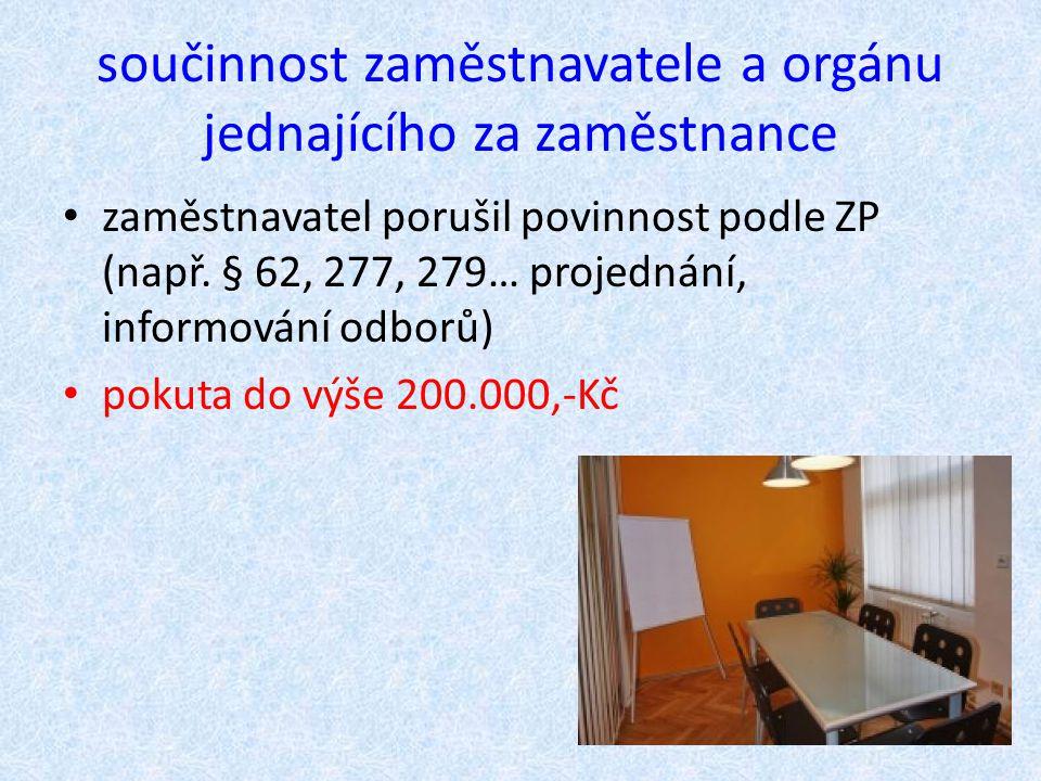 součinnost zaměstnavatele a orgánu jednajícího za zaměstnance zaměstnavatel porušil povinnost podle ZP (např. § 62, 277, 279… projednání, informování