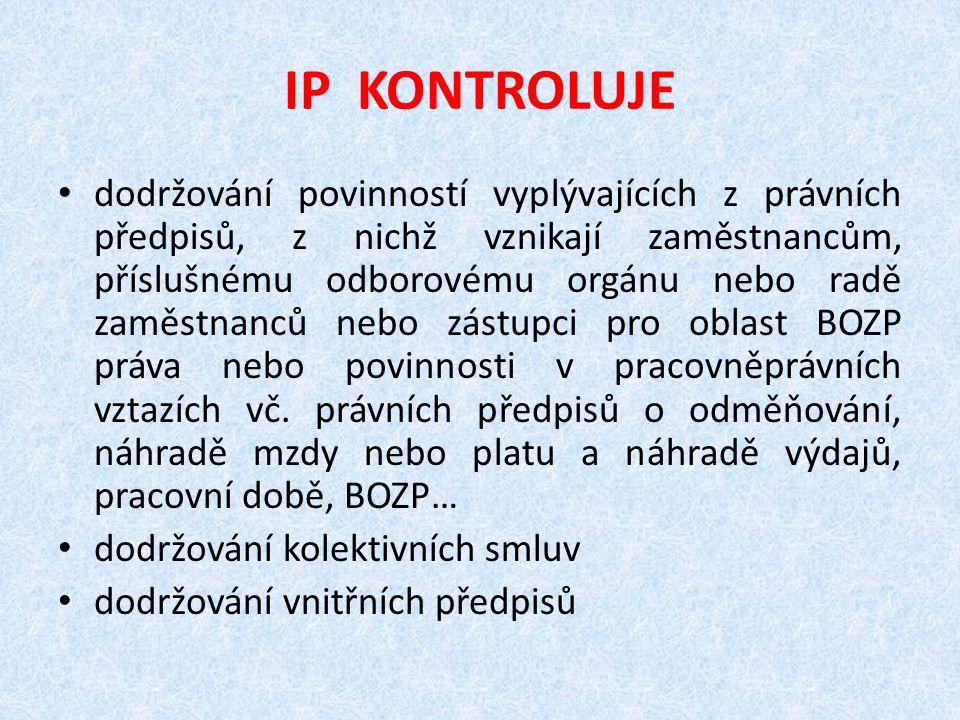 IP KONTROLUJE dodržování povinností vyplývajících z právních předpisů, z nichž vznikají zaměstnancům, příslušnému odborovému orgánu nebo radě zaměstna